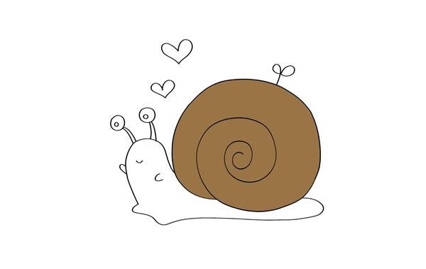 彩色卡通蜗牛简笔画步骤 中级简笔画教程-第4张