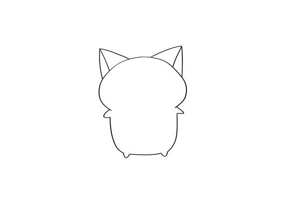 卡通猫咪简笔画步骤图解 中级简笔画教程-第2张