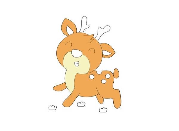 小鹿简笔画彩色 可爱小鹿简笔画步骤图片教程 中级简笔画教程-第4张