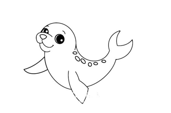 海豹怎么画简笔画简朴漂亮 中级简笔画教程-第6张