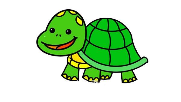卡通乌龟简笔画彩色画法 中级简笔画教程-第1张