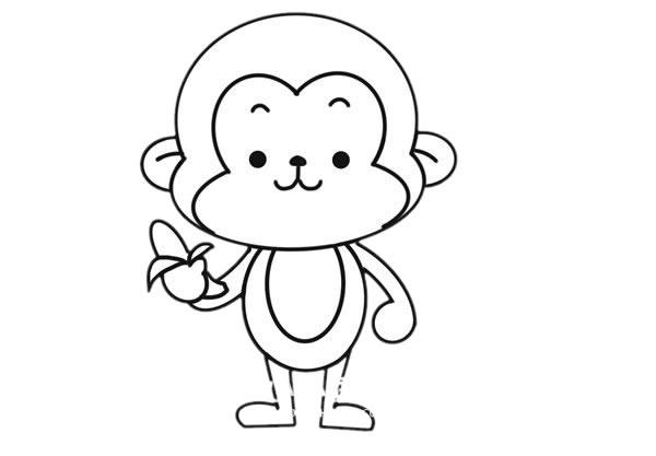 吃香蕉的猴子简笔画图片大全 动物-第6张