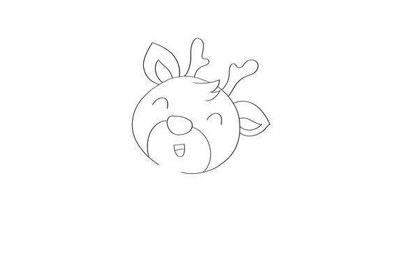 小鹿简笔画彩色 可爱小鹿简笔画步骤图片教程 中级简笔画教程-第2张
