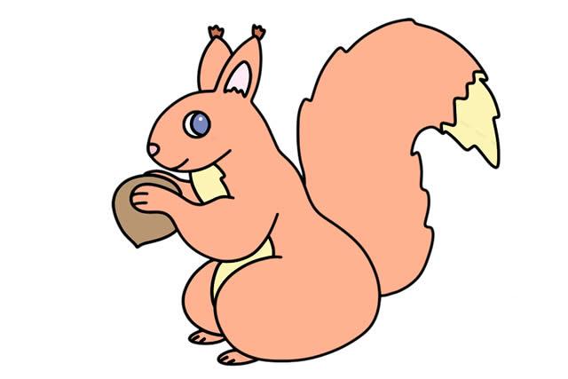 可爱的松鼠简笔画画法步骤 中级简笔画教程-第1张