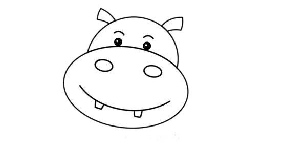 卡通河马简笔画,彩色q版河马简笔画 初级简笔画教程-第3张