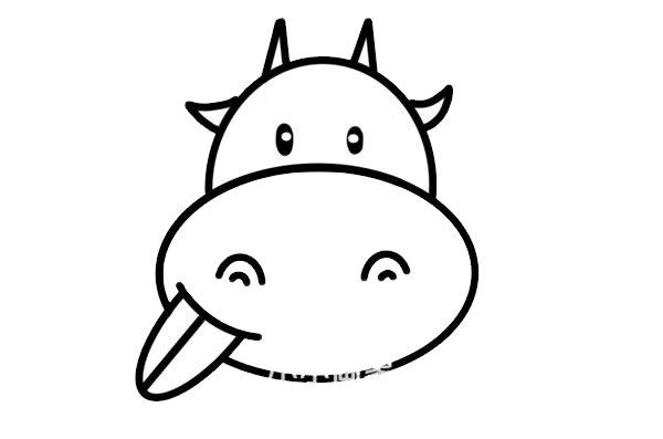 调皮小牛头像简笔画画法步骤步骤图片 动物-第6张
