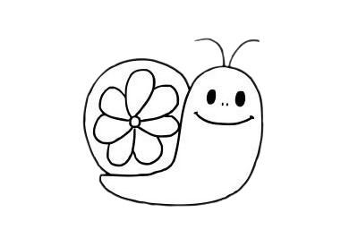 可爱蜗牛简笔画步骤图片大全 初级简笔画教程-第8张