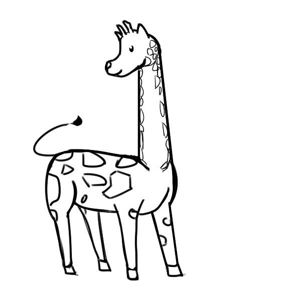 长颈鹿怎么画,长颈鹿儿童简笔画 动物-第1张