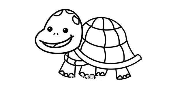卡通乌龟简笔画彩色画法 中级简笔画教程-第6张