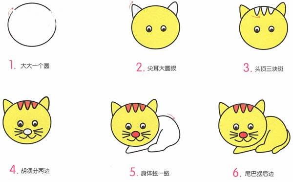 简单好看的小花猫简笔画画法 初级简笔画教程-第2张