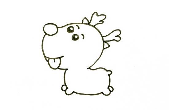 圣诞小麋鹿简笔画图片 中级简笔画教程-第4张