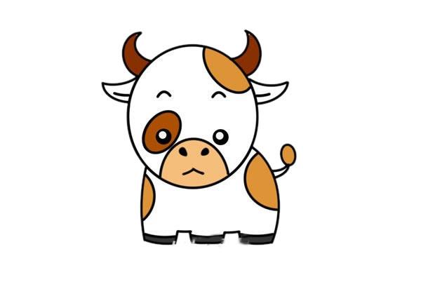 卡通奶牛简笔画,奶牛儿童画图片 中级简笔画教程-第1张
