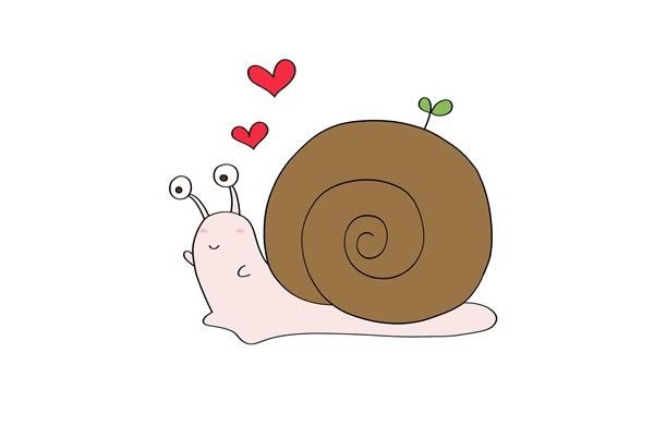 彩色卡通蜗牛简笔画步骤 中级简笔画教程-第1张