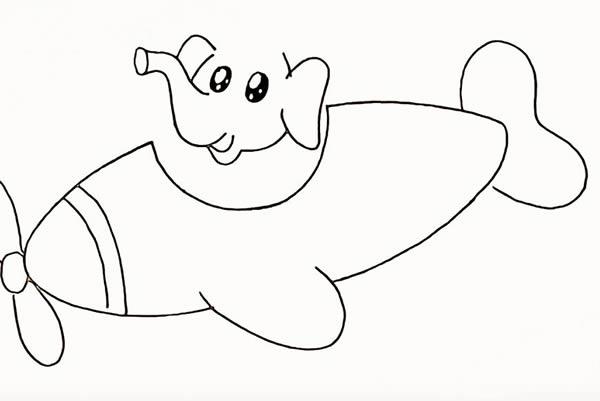 开飞机的大象简笔画 中级简笔画教程-第9张