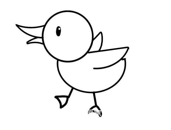 小鸭子简笔画彩色画法步骤步骤图片 中级简笔画教程-第6张