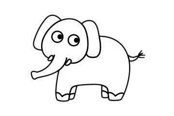 大象怎么画最简单,大象简笔画 初级简笔画教程-第2张