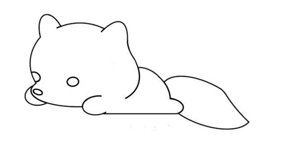 简单的白狐怎么画,可爱的白狐简笔画画法 中级简笔画教程-第6张