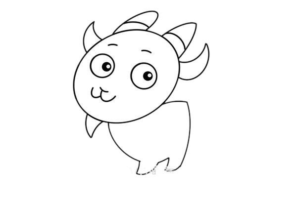 简单可爱山羊简笔画步骤图解教程 中级简笔画教程-第5张