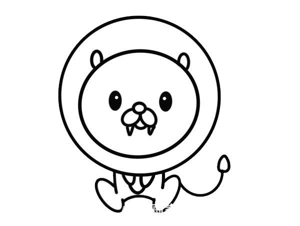 卡通狮子简笔画,可爱的狮子画法 初级简笔画教程-第5张