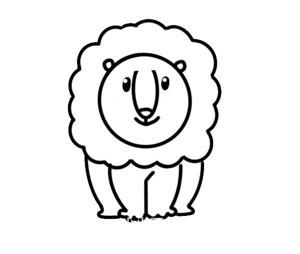 可爱雄狮简笔画彩色画法 中级简笔画教程-第4张