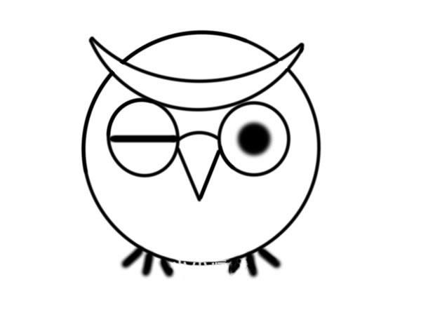 少儿简笔画猫头鹰画法 中级简笔画教程-第4张