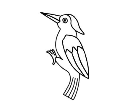啄木鸟怎么画,儿童简笔画啄木鸟画法 中级简笔画教程-第10张