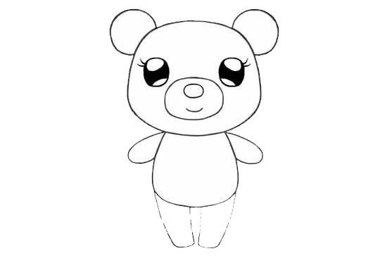 可爱的小熊姑娘简笔画画法步骤步骤图片 动物-第7张