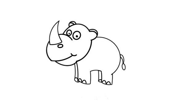 儿童画犀牛简笔画,犀牛的简单画法 中级简笔画教程-第4张
