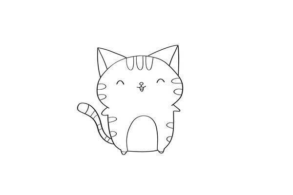 卡通猫咪简笔画步骤图解 中级简笔画教程-第4张