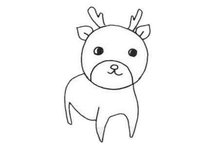 梅花鹿儿童简笔画线稿图片 中级简笔画教程-第5张