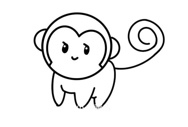 小猴子怎么画_超萌小猴子简笔画画法步骤步骤图片 动物-第6张