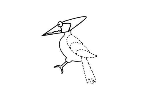 啄木鸟怎么画,儿童简笔画啄木鸟画法 中级简笔画教程-第9张