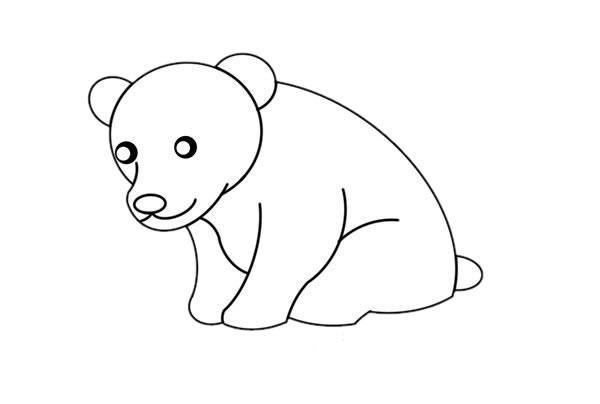 北极熊怎么画简朴又悦目 可爱北极熊简笔画 中级简笔画教程-第4张