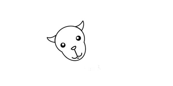 山羊简笔画,彩色山羊简笔画画法 初级简笔画教程-第3张