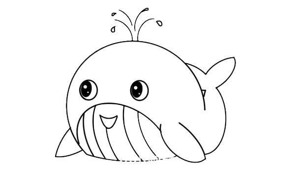 鲸鱼怎么画简朴又可爱 鲸鱼简笔画步骤图解教程 中级简笔画教程-第5张