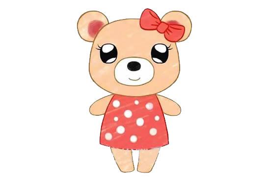 可爱的小熊姑娘简笔画画法步骤步骤图片 动物-第1张