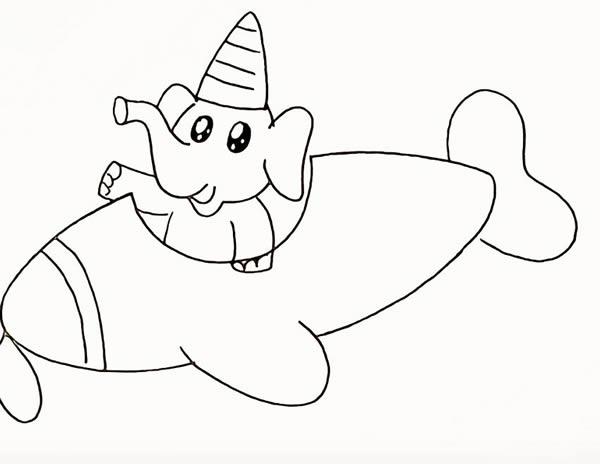 开飞机的大象简笔画 中级简笔画教程-第11张