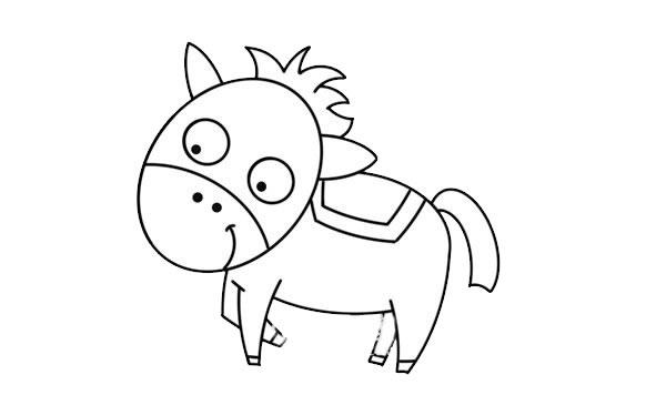 可爱卡通马简笔画 卡通马简笔画步骤图解教程 中级简笔画教程-第6张