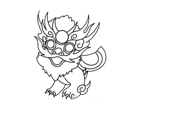年兽简笔画,年兽怎么画 动物-第7张