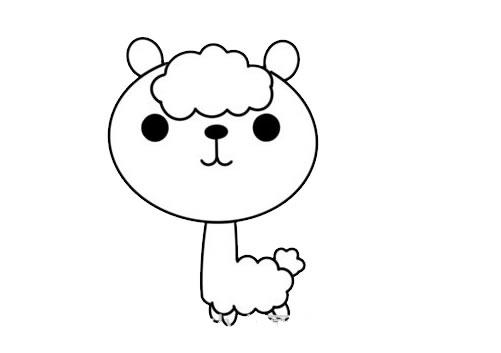 卡通羊驼简笔画步骤图解教程 中级简笔画教程-第5张
