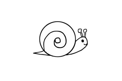 可爱蜗牛简笔画步骤图片大全 初级简笔画教程-第1张