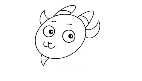 简单可爱山羊简笔画步骤图解教程 中级简笔画教程-第4张