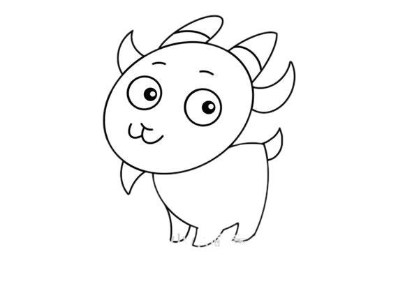 简单可爱山羊简笔画步骤图解教程 中级简笔画教程-第6张