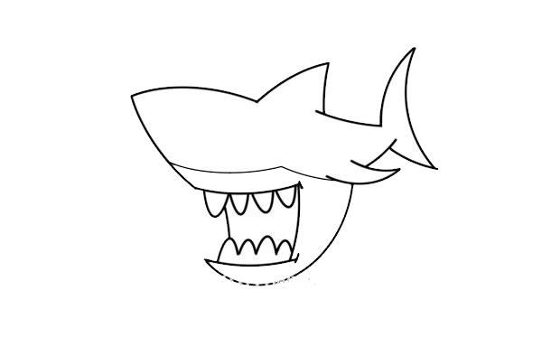 凶狠的鲨鱼简笔画画法步骤 中级简笔画教程-第5张