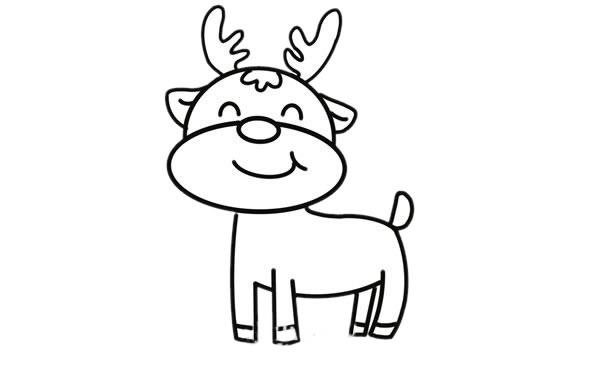 可爱的卡通驯鹿简笔画画法 中级简笔画教程-第6张