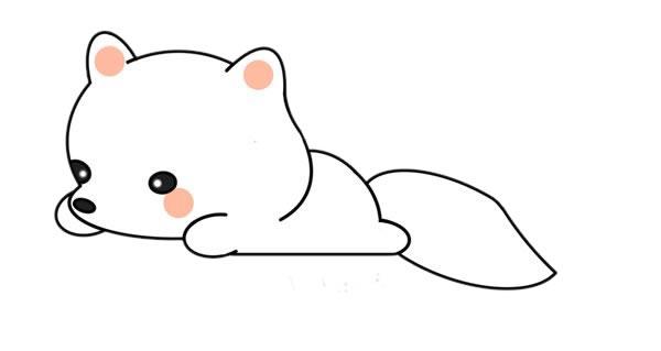 简单的白狐怎么画,可爱的白狐简笔画画法 中级简笔画教程-第1张