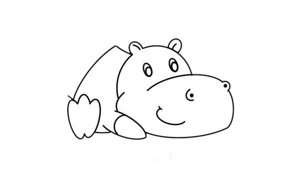 教小朋友画简单的河马简笔画 中级简笔画教程-第5张