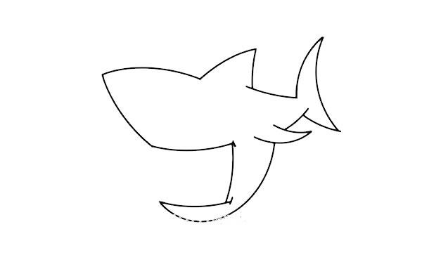 凶狠的鲨鱼简笔画画法步骤 中级简笔画教程-第4张
