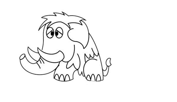 一步一步学画猛犸象儿童简笔画 中级简笔画教程-第6张