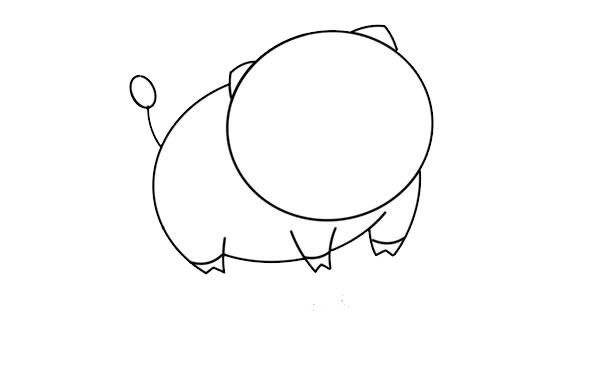 呆萌小猪简笔画图片 中级简笔画教程-第4张